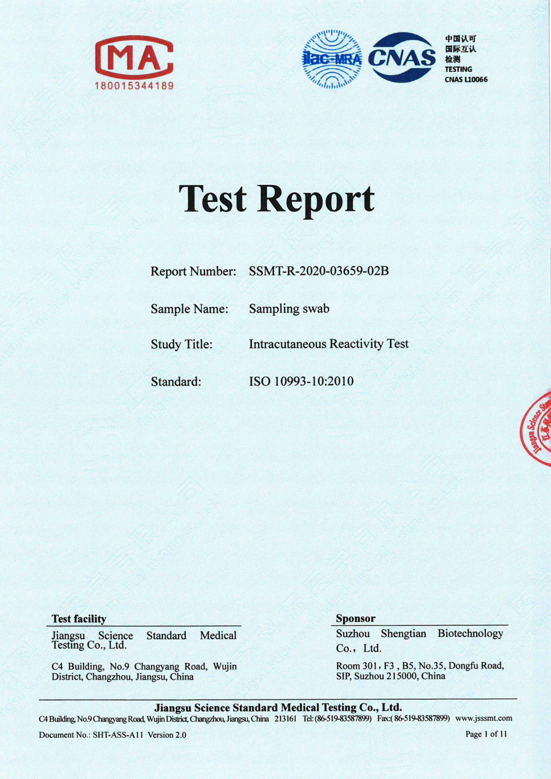 Intracutaneous Reactivity Test Certificate